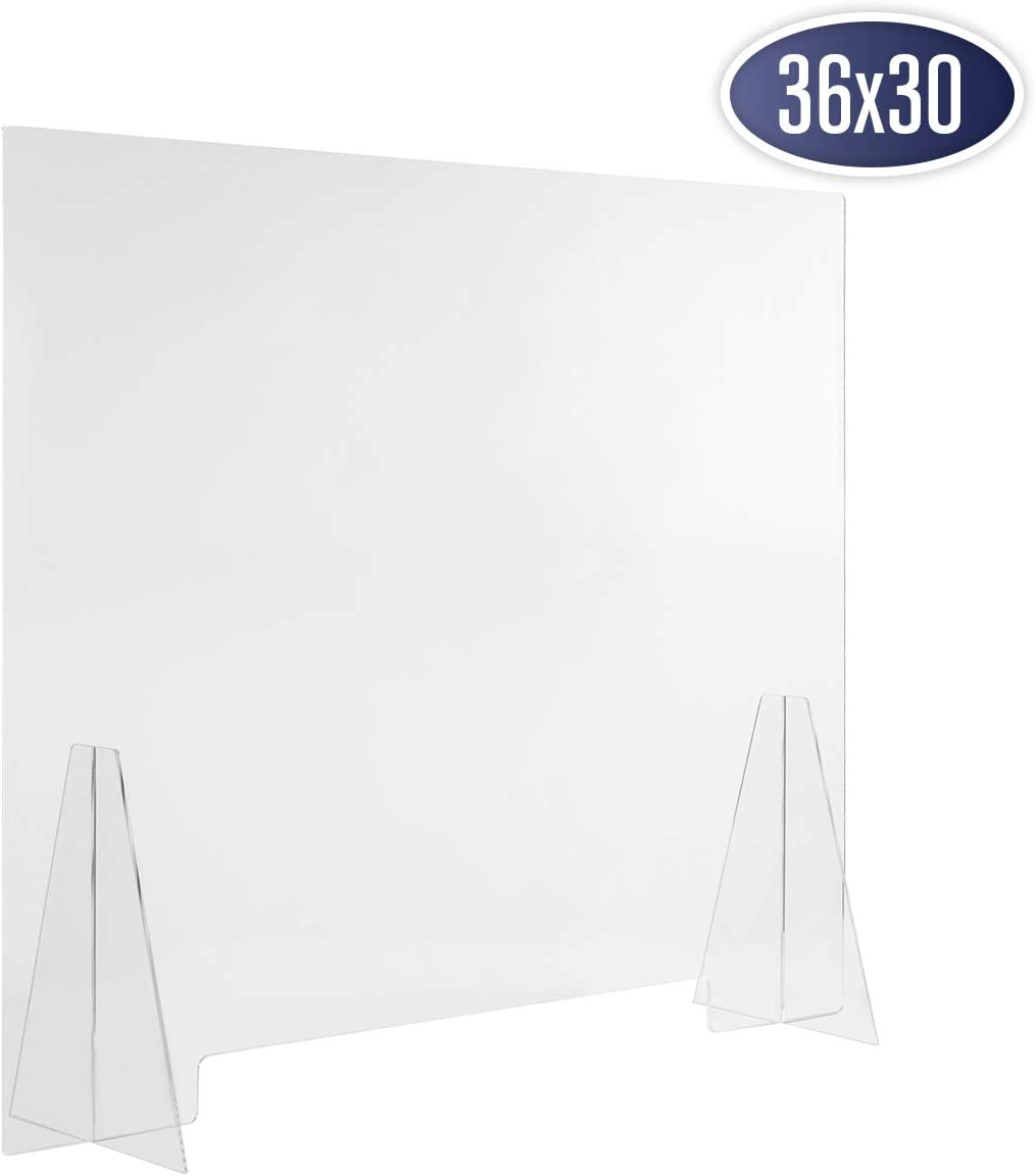 "Sneeze Guard Acrylic Shield Barrier - 36""W x 30""H Durable Plastic Shield for Desktop or Counter. Self Standing Protection for Workplace to Shield Coughs, Sneezes, Saliva, Breath, and Contact Exposure"