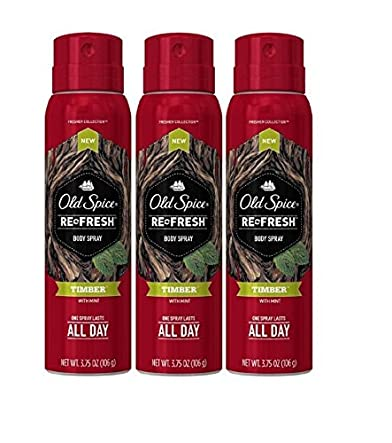 Old Spice Re Fresh Body Spray - Fresher Collection - Timber - Net Wt. 3.75 OZ (106 g) Each - Pack of 3