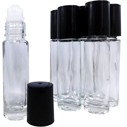 (HIGHEST QUALITY Solid Glass Roller Bottles by Leven Rose, 6 PACK of 10ml Roll On Bottles, Refillable Roll On Bottles for Aromatherapy, Essential Oils & Carrier Oils)