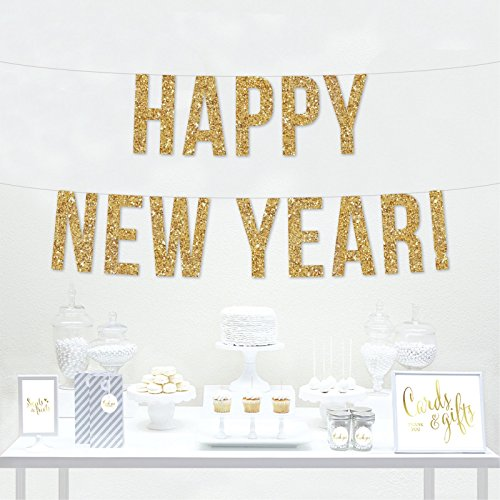 Andaz Press Real Glitter Paper Pennant Hanging Banner, Happy New Year!, Gold Glitter, Includes String, Pre-Strung, No Assembly Required, 1-Set, 2018 2019 2020 Decorations
