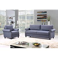 2 Piece Classic Linen Fabric Living Room Sofa and Armchair Furniture Set with Nailhead Trim (Blue)
