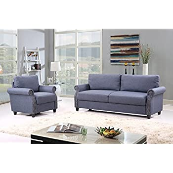 2 Piece Classic Linen Fabric Living Room Sofa And Armchair Furniture Set  With Nailhead Trim (