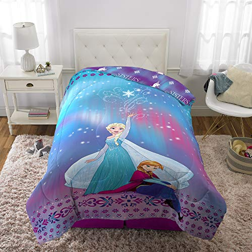 "Disney Frozen Elsa and Anna Soft Microfiber Reversible Comforter, Twin/Full Size 72"" x 86"", Blue/Purple"