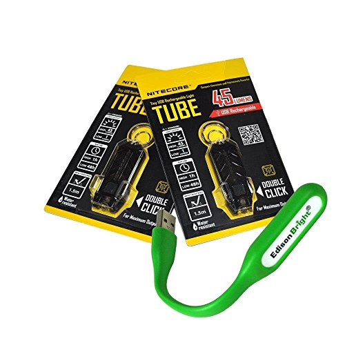 Nitecore TUBE black 2 pack of 45 lumen USB rechargeable keychain light with EdisonBright USB powered flexible reading light bundle
