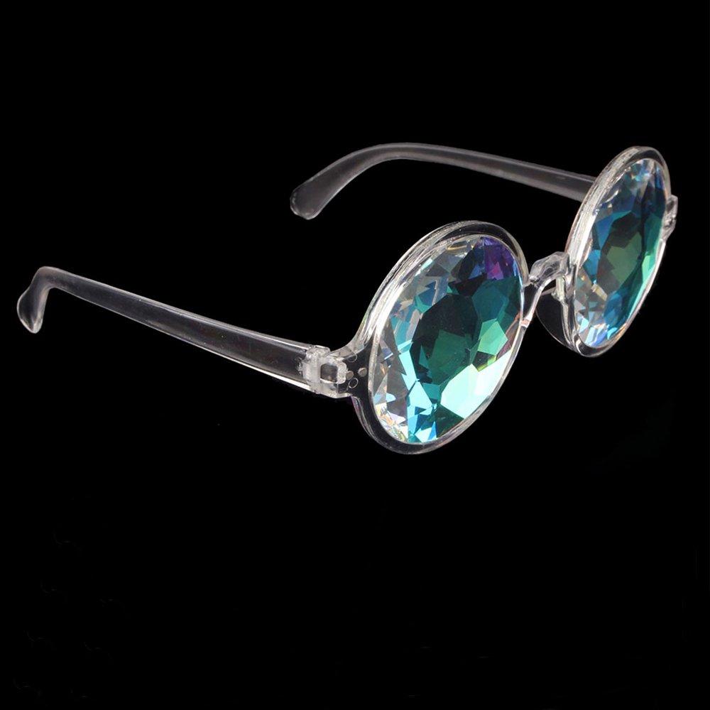 OMG_Shop Festivals Kaleidoscope Glasses for Raves - Rainbow Prism Diffraction Crystal Lenses (Black)