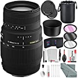 Sigma 70-300mm f/4-5.6 DG Telephoto Zoom Macro Lens for Canon EOS with Deluxe Accessory Bundle and Xpix Cleaning Kit