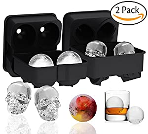 Ouddy 2 Pack Ice Cube Trays, 3D Skull Shape Silicone Black Ice Cubes Mold & Ice Ball Mold for Cocktails, Whiskey Wine or Other Drinks