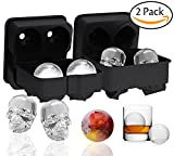 Image of Ouddy 2 Pack Ice Cube Trays, 3D Skull Shape Silicone Black Ice Cubes Mold & Ice Ball Mold for Cocktails, Whiskey Wine or Other Drinks