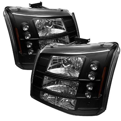 Silverado Crystal - Spyder Auto Chevy Silverado 1500/2500/3500 Black LED Crystal Headlight with Bumper Light