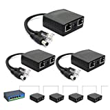 ANVISION 3-Pack PoE Network Extender Repeater, 10/100Mbps, Up to 328 feet for IP Camera AP and more