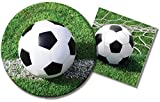 Soccer Party Supplies Bundle - 2 Items: 9 Inch Paper Plates & 6.5 Inch Napkins with Realistic Soccer Ball Image - Service for 16 Guests