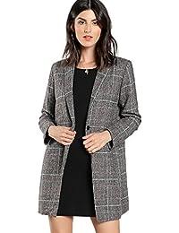 Women's Lapel Collar Coat Long Sleeve Plaid Blazer Outerwear