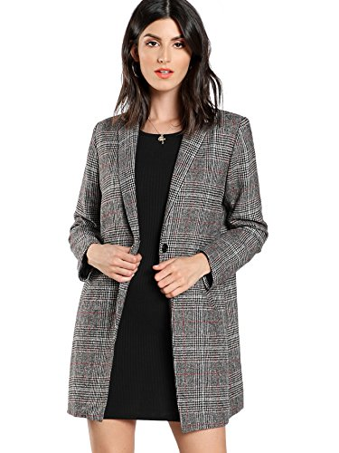 Long Sleeve Plaid Coat - SheIn Women's Lapel Collar Coat Long Sleeve Plaid Blazer Outerwear Grey Medium