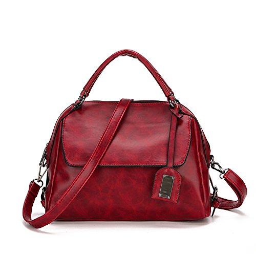 Red Mujer Bolsa Ocasional Las Mensajero Portátil Moda Señoras Citas Hombro Aceite Boston Mochila La Almohada Cera De Cuero Bolso Compras AwESHg