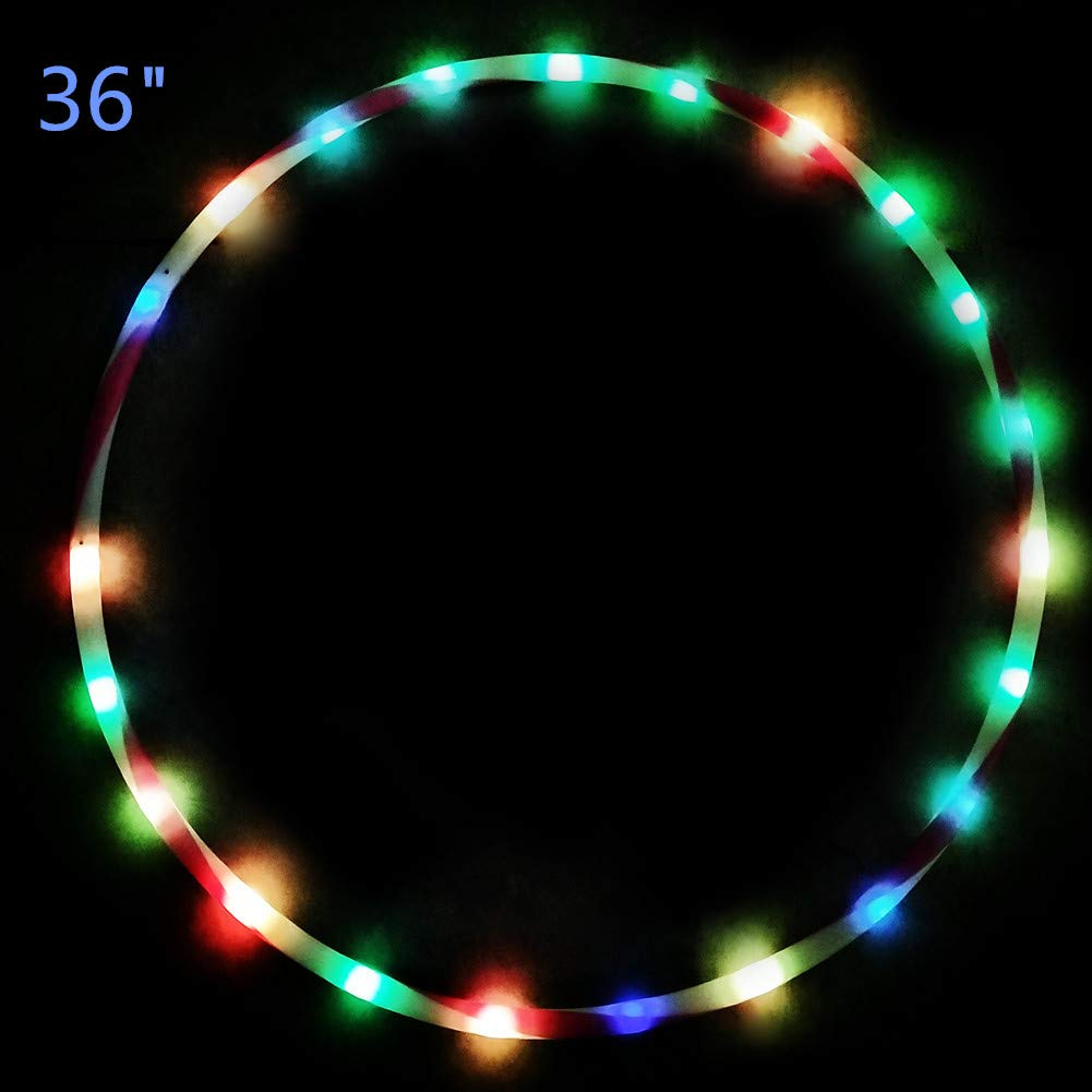 36 inch Light Up Hula Hoop,28 Color Changing LED Hula Hoop for Kids Adults