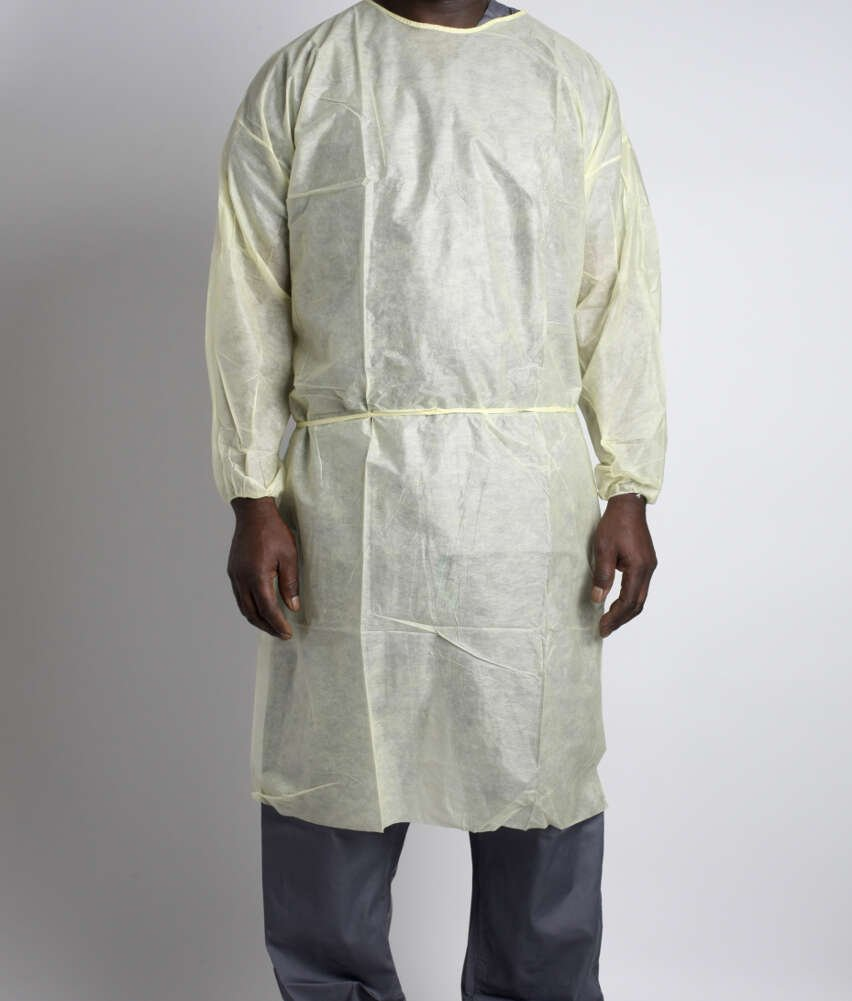 MediChoice Isolation Gowns, Full Back, Elastic Cuff, Tie Neck And Waist, PSB, XL, Yellow (Bag of 10)