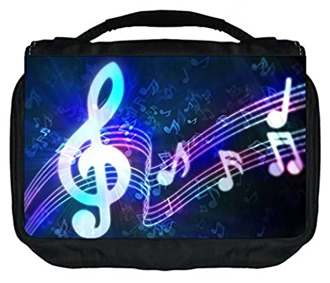 Music Clef Print Design TM Small Travel Sized Hanging Cosmetic/Toiletry Case with 3 Compartments and Detachable Hanger-Made in the - Clef Hanger