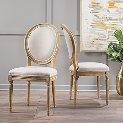 Christopher Knight Home Phinnaeus Fabric Dining Chairs, 2-Pcs Set, Beige - Turn back The clock in your dining room - these farmhouse-inspired dining chairs will bring you and your family Back to a simpler, more carefree time. Upholstered with two types of fabric, they offer your home something a little out of the ordinary while at the same time remaining true to their elegant, old-fashioned roots; their frames feature hand-carved channels and accents, classically turned legs, Wonderfully contrasting Lines and curves, and a distressed finish that gives these pieces a rustic, shabby-chic appeal. Includes: two (2) dining chairs Fabric composition: 100% polyester Frame material: Imported rubberwood - kitchen-dining-room-furniture, kitchen-dining-room, kitchen-dining-room-chairs - 518yNFdgA4L. SS400  -