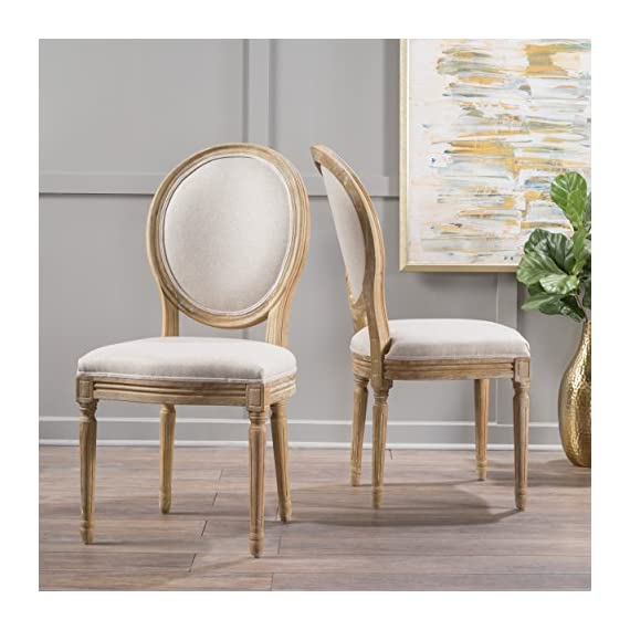 Christopher Knight Home 300258 Phinnaeus Fabric Dining Chairs, 2-Pcs Set, Beige - This traditional dining chair is perfect for any dining room. Featuring distressed wood with soft edges along the chair, it is sure to Complement any Classic Décor. The extra plus seating also provides maximum comfort while dining, giving your dinner parties an instant win. Includes: two (2) dining chairs Material: fabric (100% polyester), rubberwood   color: Beige, natural Finish - kitchen-dining-room-furniture, kitchen-dining-room, kitchen-dining-room-chairs - 518yNFdgA4L. SS570  -