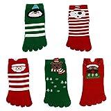 5 Pairs Men Women Children Cartoon Christmas Socks Lovers Creative Split Toe Socks
