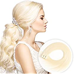 Tape in Human Hair Extensions 22 Inch 40pcs 100g/pack Silky Straight human Hair Extensions Bleach Blonde (22inch/40pcs, 613)