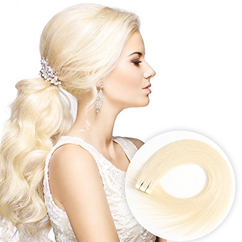 Tape in Human Hair Extensions 20 Inch 40pcs 100g/pack Silky Straight human Hair Extensions Bleach Blonde(20inch/40pcs, - Teaching Tape