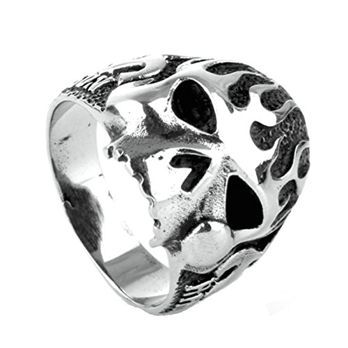 MoAndy Men Stainless Steel Vintage Retro Silver Flame Skull Ring 6MM Size 8 Flame Skull Ring