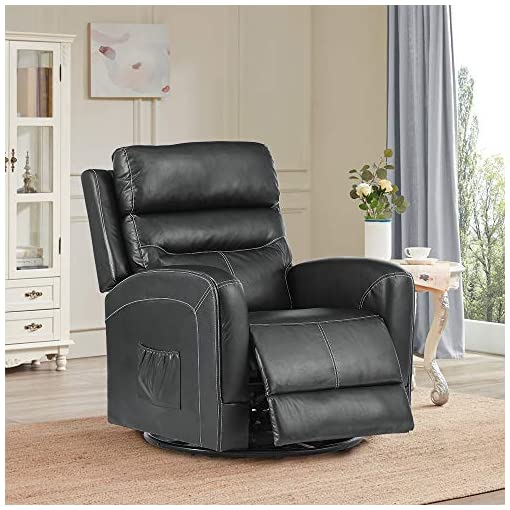 Living Room Massage Recliner Chair Sofa with Lumbar Heating Rocker Recliner with 360 Swivel Remote Control 8-Point Vibration for…