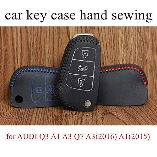 Only Red Case for Audi Q3/A1/A3/Q7/A3(2016)/A1(2015)/A3(2015)/S3(2014) car Key case Hand Sewing Cover DIY Genuine Leather