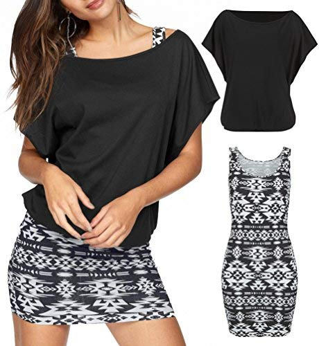 Jusfitsu Women's 2 Piece Casual Loose T Shirt Tops Print Bodycon Mini Tank Dresses Black M
