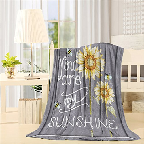 Flannel Fleece Bed Blanket 40 x 50 inch Sunflowers Throw Blanket Lightweight Cozy Plush Blanket for Bedroom Living Rooms Sofa Couch - You Are My Sunshine