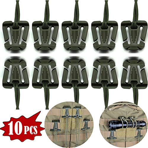 (Tragoods 10 PCS Advanced Tactical Gear Clip Molle Web Dominators Elastic String for Outdoor Hydration Tube Backpack Straps Management (Army Green))