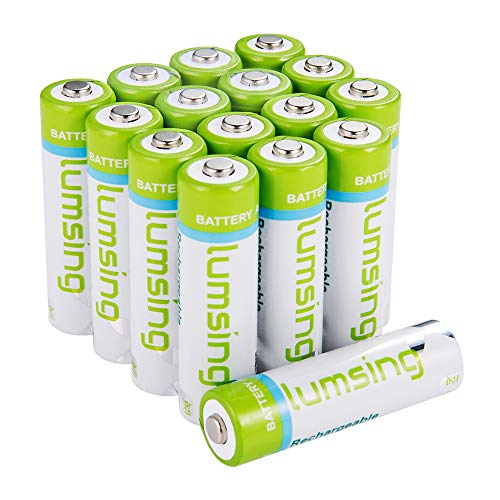 Lumsing 16 Pack AA Batteries 2850mAh High Capacity AA Ni-MH Rechargeable Batteries, Battery Case Included (16 Pack AA)