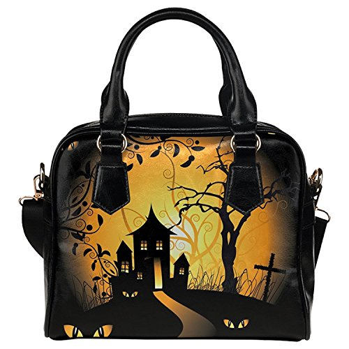InterestPrint Halloween Women's PU Leather Aslant Shoulder Tote Handbag Bag -