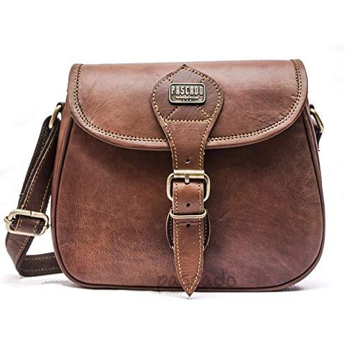 a4b570c44 Pascado womens Leather mini crossbody bag handmade genuine vintage brown shoulder  satchel travel crossover saddle handbag 7 x 9 inch