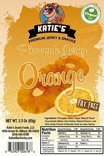 Orange Pineapple Vegan Jerky (6 Pack) (Dried Fruit) All Natural NO Sulfur Dioxide!
