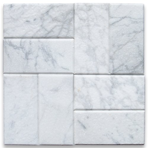 Carrara White Italian Carrera Marble Subway Tile 3 x 6 Tumbled -