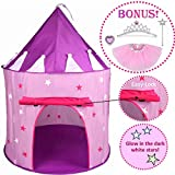 Toys : 5pc Princess Tent for Girls Play Tent Princess Castle w Glow in the Dark Stars. Bonus Princess Dress up Tutu Costume set! Tent for Kids Children Princess Pink Play-house Pop Up Tent, by Hide-n-Side