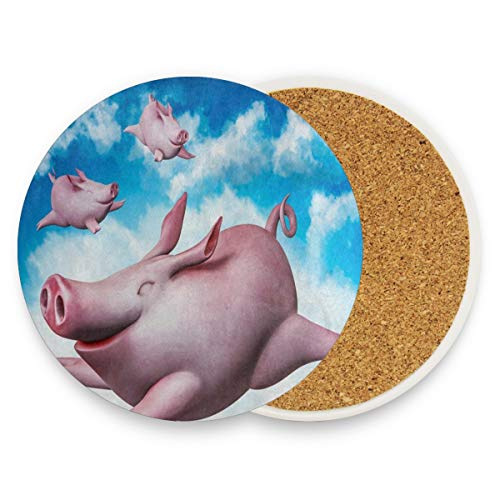 LoveBea Funny Pig Cloud Sky Coasters, Prevent Furniture from Dirty and Scratched, Round Cork Coasters Set Suitable for Kinds of Mugs and Cups, Living Room Decorations Gift 1 Piece
