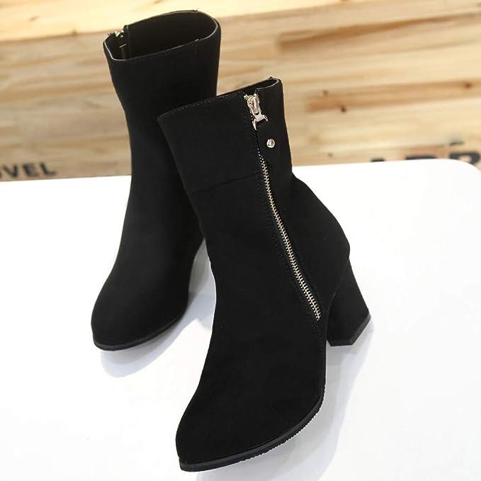 LuckyGirls Botas de Media Caña Zapatos de Tacón para Mujer Moda Sexy Botitas  7cm  Amazon.es  Deportes y aire libre 61cdbc20e2a7c
