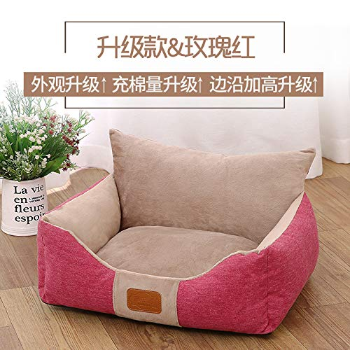 Teddy kennel removable and washable cat litter four seasons universal dog bed pet nest large small medium dog house, pink red, XL
