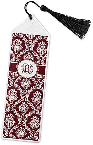 Maroon & White Book Mark w/Tassel (Personalized) (Design Bookmarks Damask)