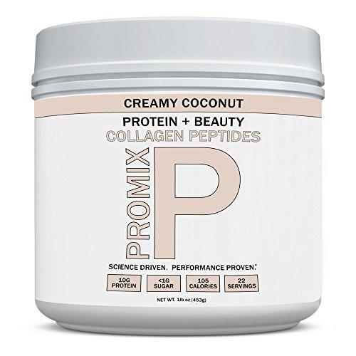 PROMIX Coconut Collagen Peptides Powder, Pasture-Raised Grass Fed Hydrolysate | Creamy Coconut,16oz | Keto, Paleo, Non GMO, Gluten Free, Natural Organic, Hydrolyzed | Healthy Skin, Bones, Hair, Joints ()