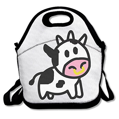 ScutLunb Lunch Bag Cartoon Cow Lunch Tote Lunch Box For Women Men Kids With Adjustable Strap