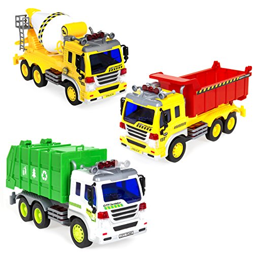 - Best Choice Products 3-Pack 1/16 Scale Friction Powered Toy Garbage, Cement Mixer, Recycling Trucks w/ Lights and Sound