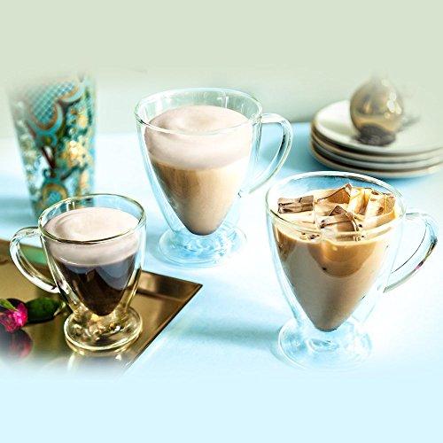 JoyJolt Declan Irish Glass Coffee Cups Double Wall Insulated Mugs Set of 2 Latte Glasses, 15-Ounces. by JoyJolt (Image #5)