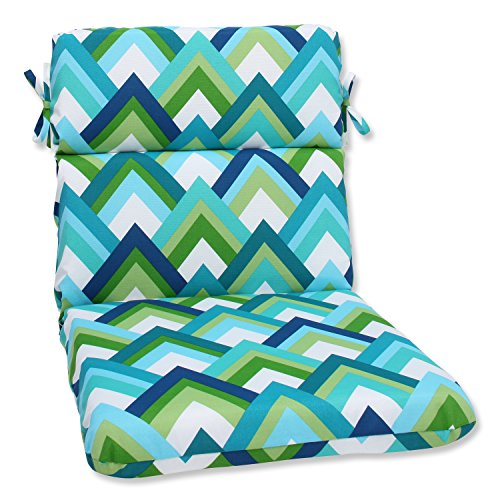 Pillow Perfect Outdoor Resort Peacock Rounded Corners Chair Cushion, Blue