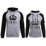 ZZhong King Queen Printed Hooded Sweatshirt Matching His & Hers Couple Hoodie Grey King Queen Hoodie Set Women XL + Men M