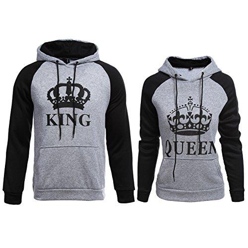 ZZhong King Queen Printed Hooded Sweatshirt Matching His & Hers Couple Hoodie Grey King Queen Hoodie Set Women S + Men L by ZZhong Clothes