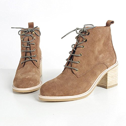 Stivali scarpe giornaliero tacco alto Chelsea Boots bestiame camoscio donna , 38 , brown